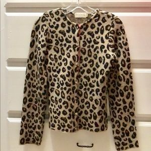 Leopard Print Rhinestone Button Cardigan Sweater